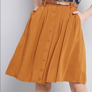 Modcloth Pleated A-Line Button Front Skirt